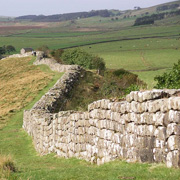 Sections of Hadrian's Wall in Northumberland National Park